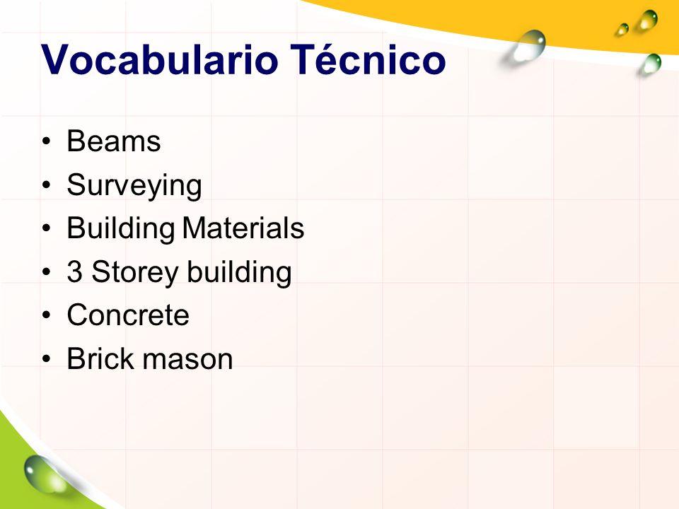 Vocabulario Técnico Beams Surveying Building Materials 3 Storey building Concrete Brick mason