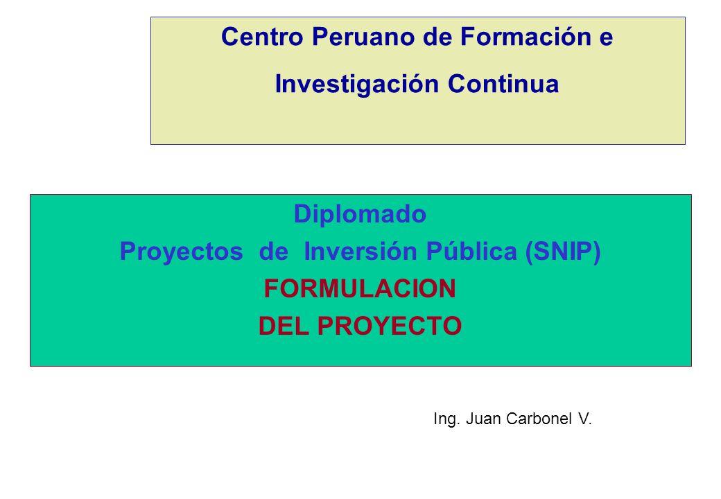 Centro Peruano de Formación e Investigación Continua Diplomado Proyectos de Inversión Pública (SNIP) FORMULACION DEL PROYECTO Ing. Juan Carbonel V.