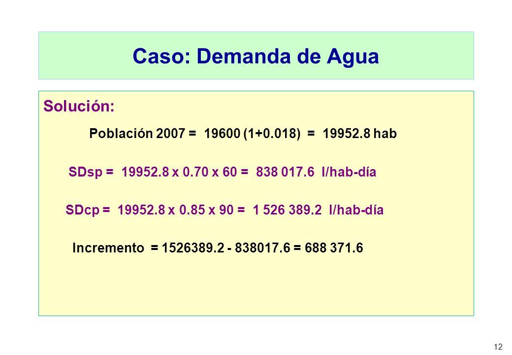 12 Caso: Demanda de Agua Solución: Población 2007 = 19600 (1+0.018) = 19952.8 hab SDsp = 19952.8 x 0.70 x 60 = 838 017.6 l/hab-día SDcp = 19952.8 x 0.