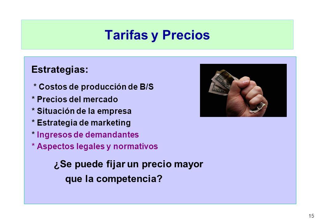 15 Tarifas y Precios Estrategias: * Costos de producción de B/S * Precios del mercado * Situación de la empresa * Estrategia de marketing * Ingresos d