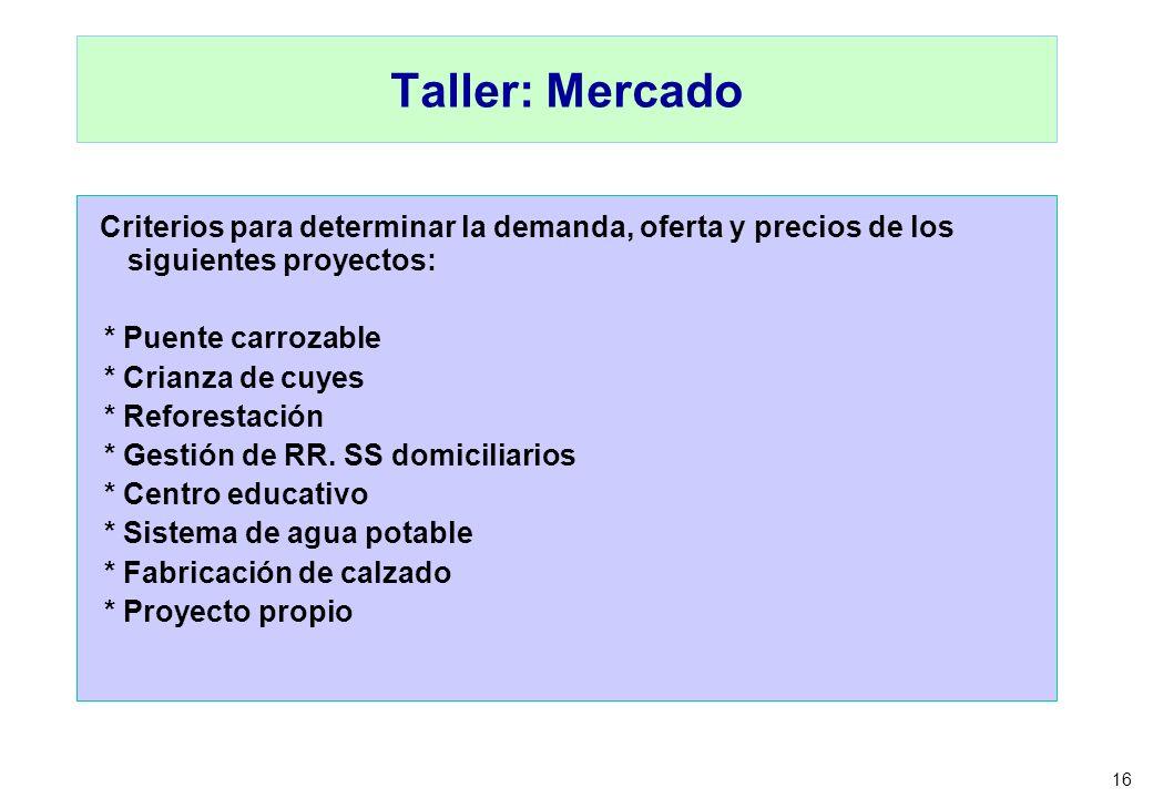 16 Taller: Mercado Criterios para determinar la demanda, oferta y precios de los siguientes proyectos: * Puente carrozable * Crianza de cuyes * Refore