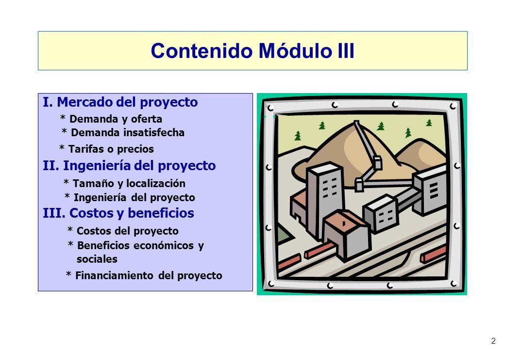 2 Contenido Módulo III I. Mercado del proyecto * Demanda y oferta * Demanda insatisfecha * Tarifas o precios II. Ingeniería del proyecto * Tamaño y lo