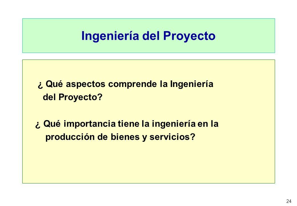 24 Ingeniería del Proyecto ¿ Qué aspectos comprende la Ingeniería del Proyecto? ¿ Qué importancia tiene la ingeniería en la producción de bienes y ser