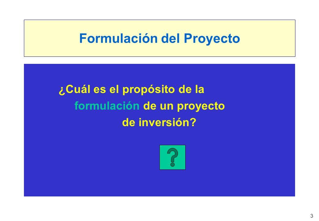 3 Formulación del Proyecto ¿Cuál es el propósito de la formulación de un proyecto de inversión?