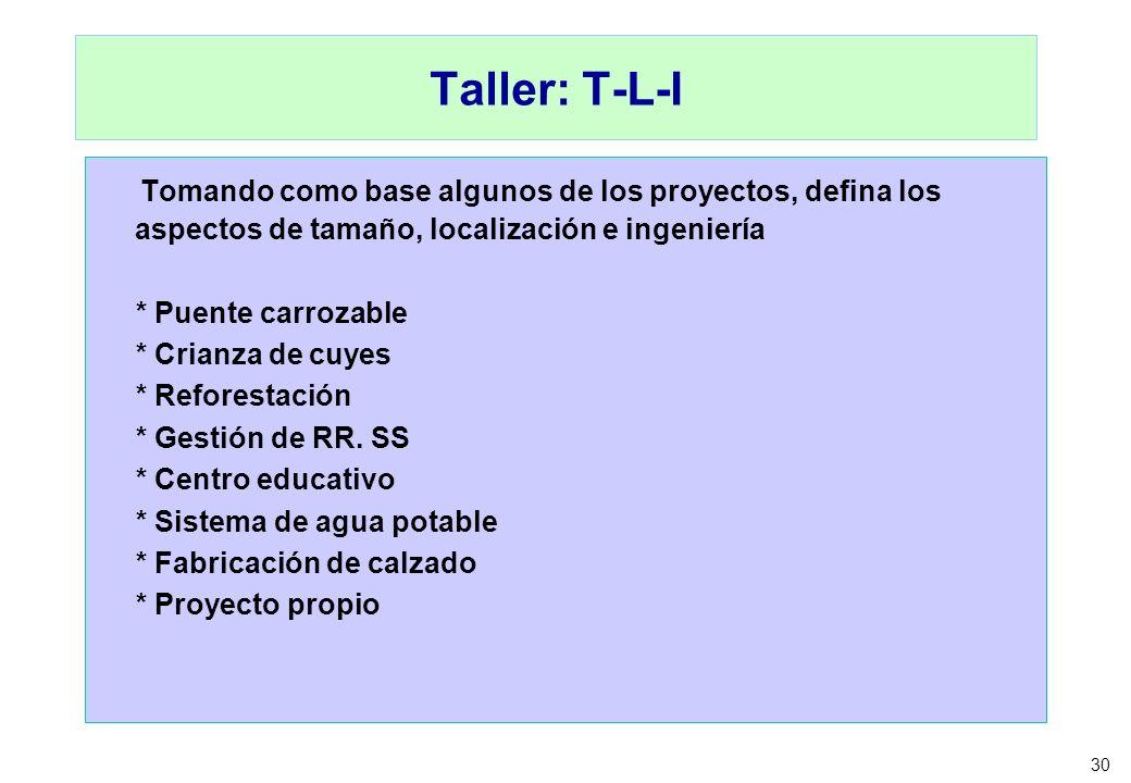 30 Taller: T-L-I Tomando como base algunos de los proyectos, defina los aspectos de tamaño, localización e ingeniería * Puente carrozable * Crianza de