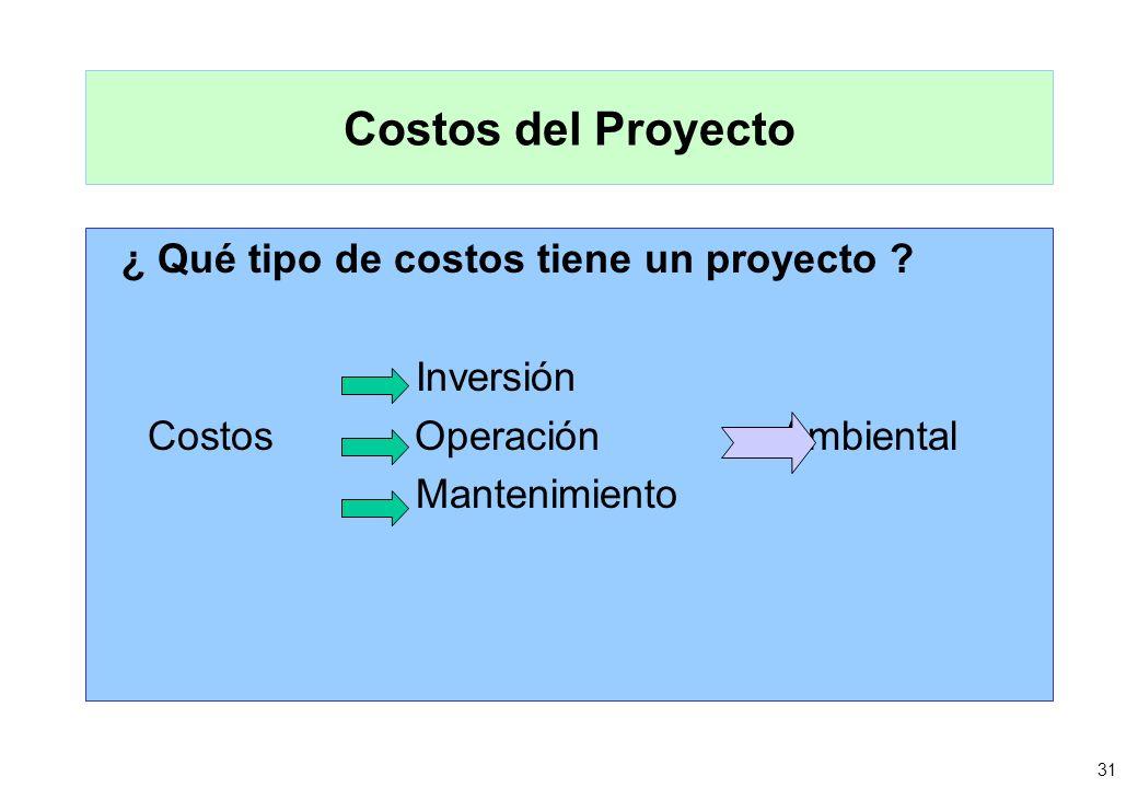 31 Costos del Proyecto ¿ Qué tipo de costos tiene un proyecto ? Inversión Costos Operación Ambiental Mantenimiento