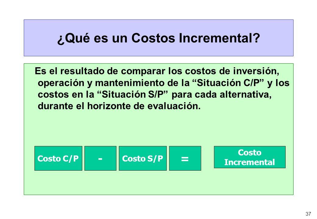 37 ¿Qué es un Costos Incremental? Es el resultado de comparar los costos de inversión, operación y mantenimiento de la Situación C/P y los costos en l