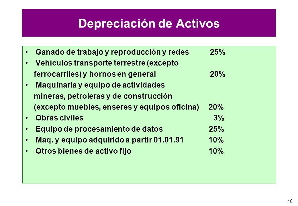 40 Depreciación de Activos Ganado de trabajo y reproducción y redes 25% Vehículos transporte terrestre (excepto ferrocarriles) y hornos en general 20%