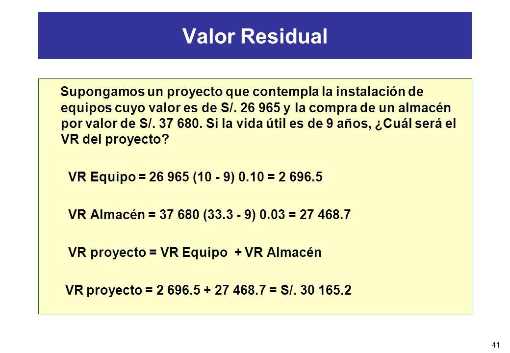 41 Valor Residual Supongamos un proyecto que contempla la instalación de equipos cuyo valor es de S/. 26 965 y la compra de un almacén por valor de S/