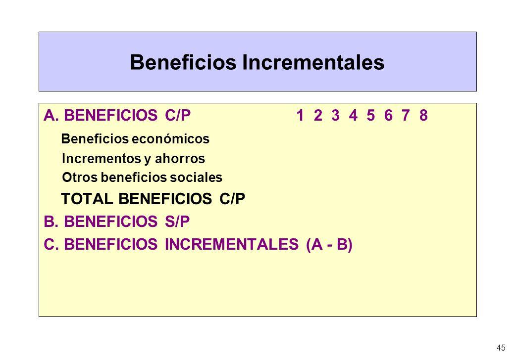 45 Beneficios Incrementales A. BENEFICIOS C/P 1 2 3 4 5 6 7 8 Beneficios económicos Incrementos y ahorros Otros beneficios sociales TOTAL BENEFICIOS C