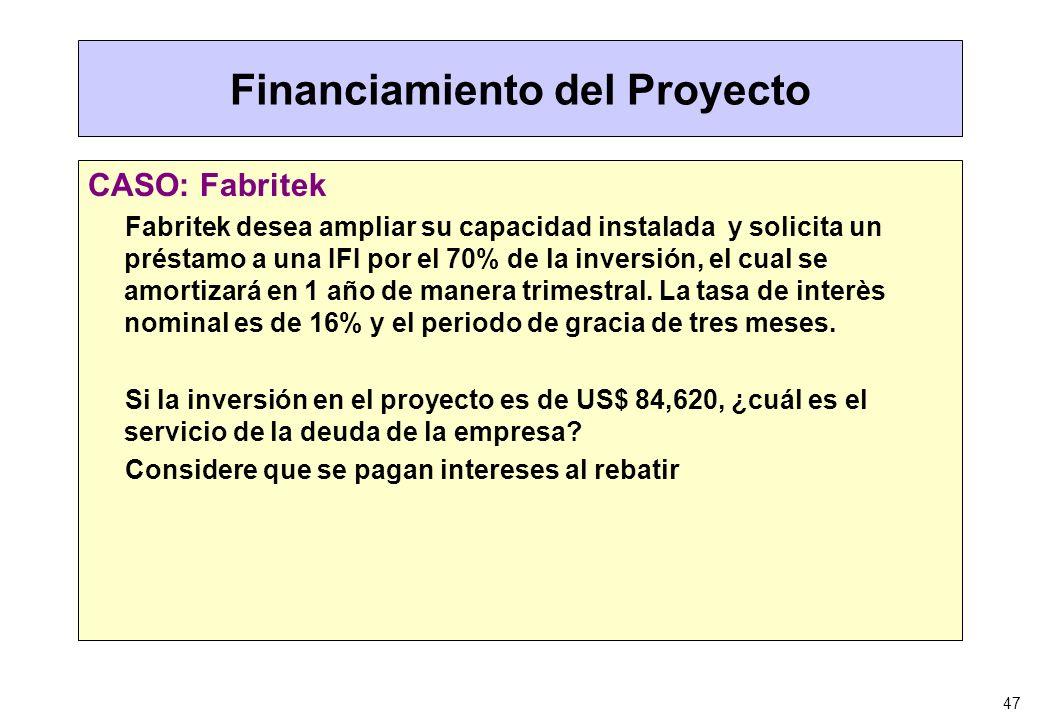 47 Financiamiento del Proyecto CASO: Fabritek Fabritek desea ampliar su capacidad instalada y solicita un préstamo a una IFI por el 70% de la inversió
