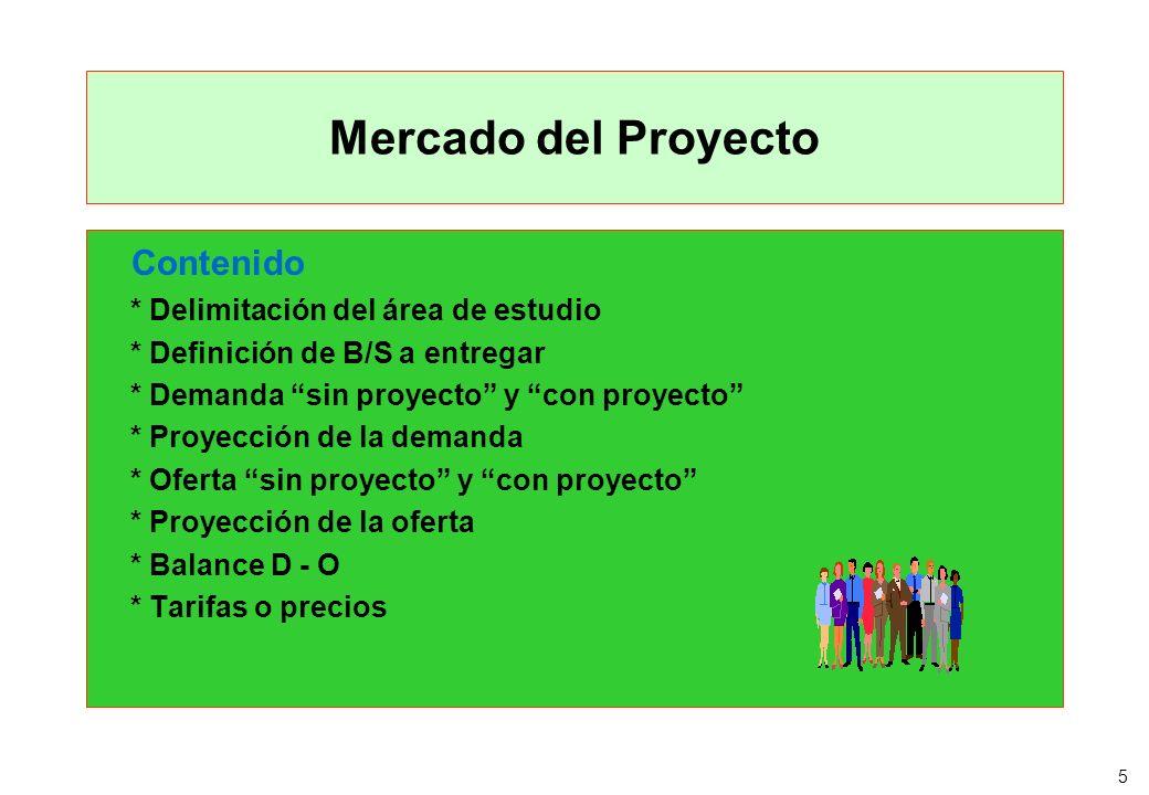 5 Mercado del Proyecto Contenido * Delimitación del área de estudio * Definición de B/S a entregar * Demanda sin proyecto y con proyecto * Proyección