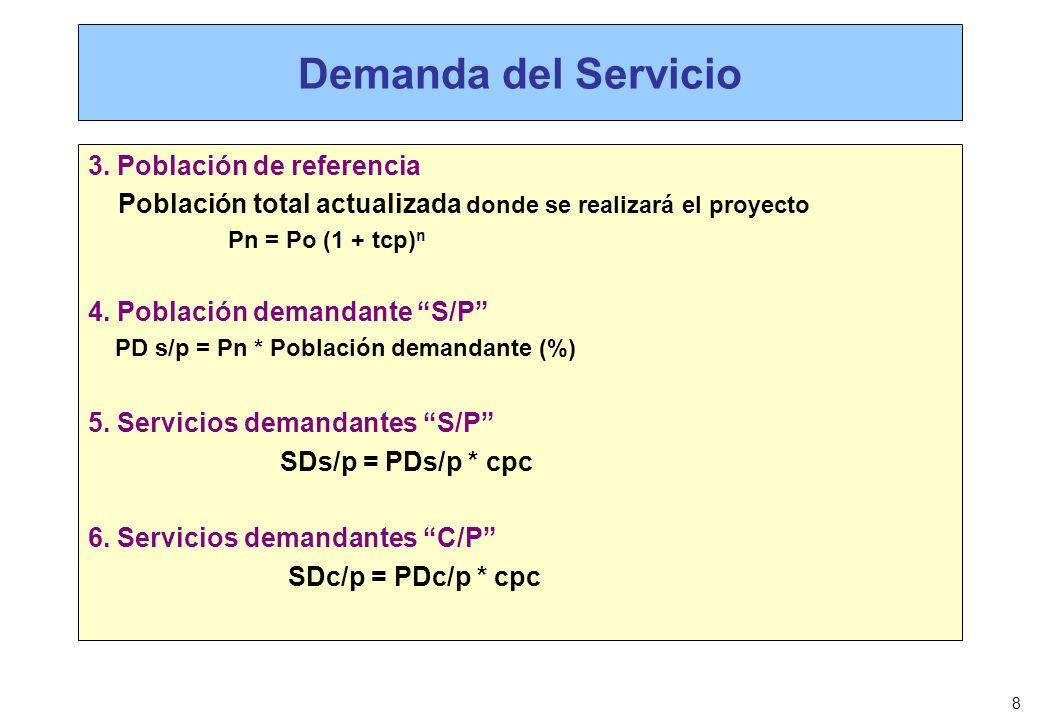 8 Demanda del Servicio 3. Población de referencia Población total actualizada donde se realizará el proyecto Pn = Po (1 + tcp) n 4. Población demandan