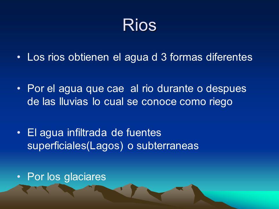 Rios Los rios obtienen el agua d 3 formas diferentes Por el agua que cae al rio durante o despues de las lluvias lo cual se conoce como riego El agua