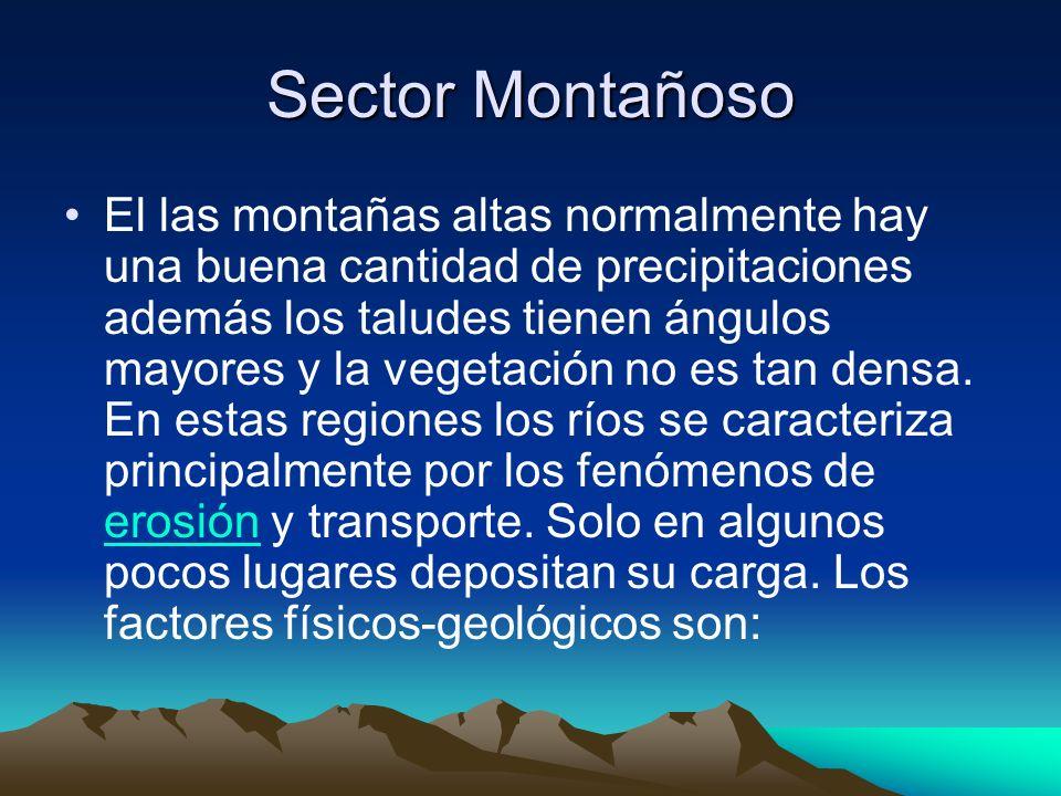 Sector Montañoso El las montañas altas normalmente hay una buena cantidad de precipitaciones además los taludes tienen ángulos mayores y la vegetación