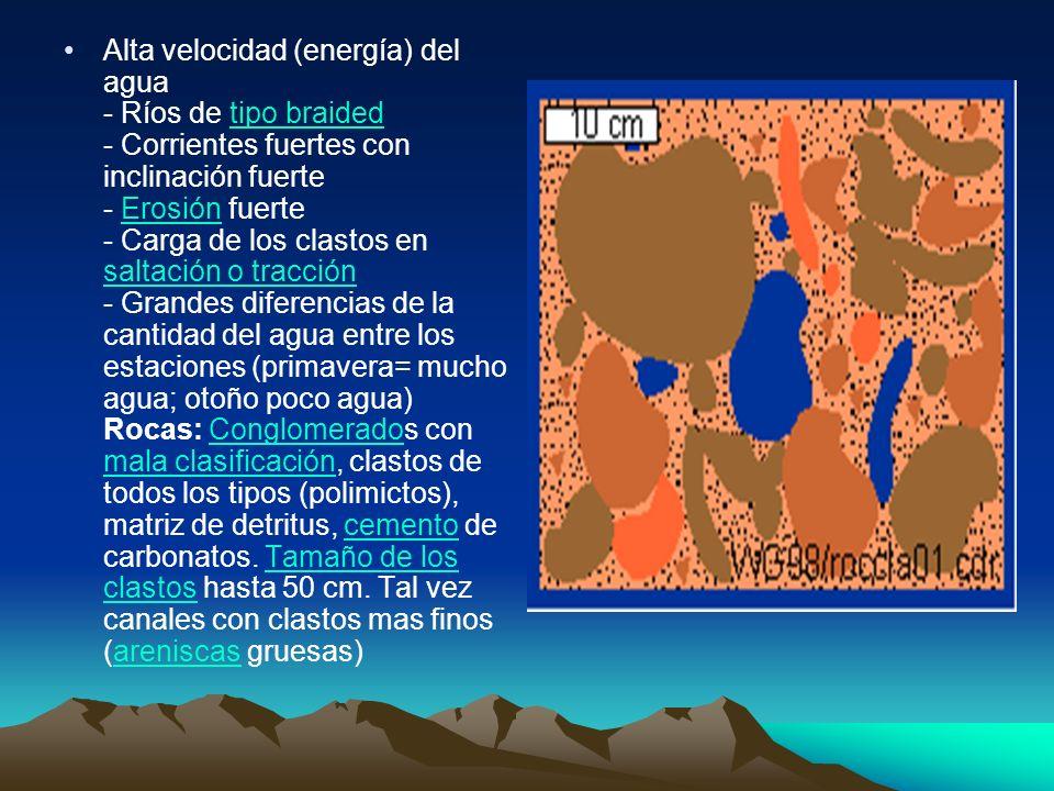 Alta velocidad (energía) del agua - Ríos de tipo braided - Corrientes fuertes con inclinación fuerte - Erosión fuerte - Carga de los clastos en saltac