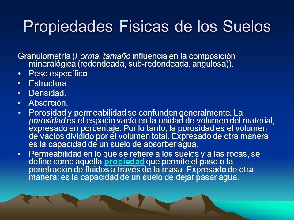 Propiedades Fisicas de los Suelos Granulometría (Forma, tamaño influencia en la composición mineralógica (redondeada, sub-redondeada, angulosa)). Peso