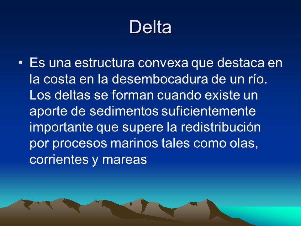 Delta Es una estructura convexa que destaca en la costa en la desembocadura de un río. Los deltas se forman cuando existe un aporte de sedimentos sufi