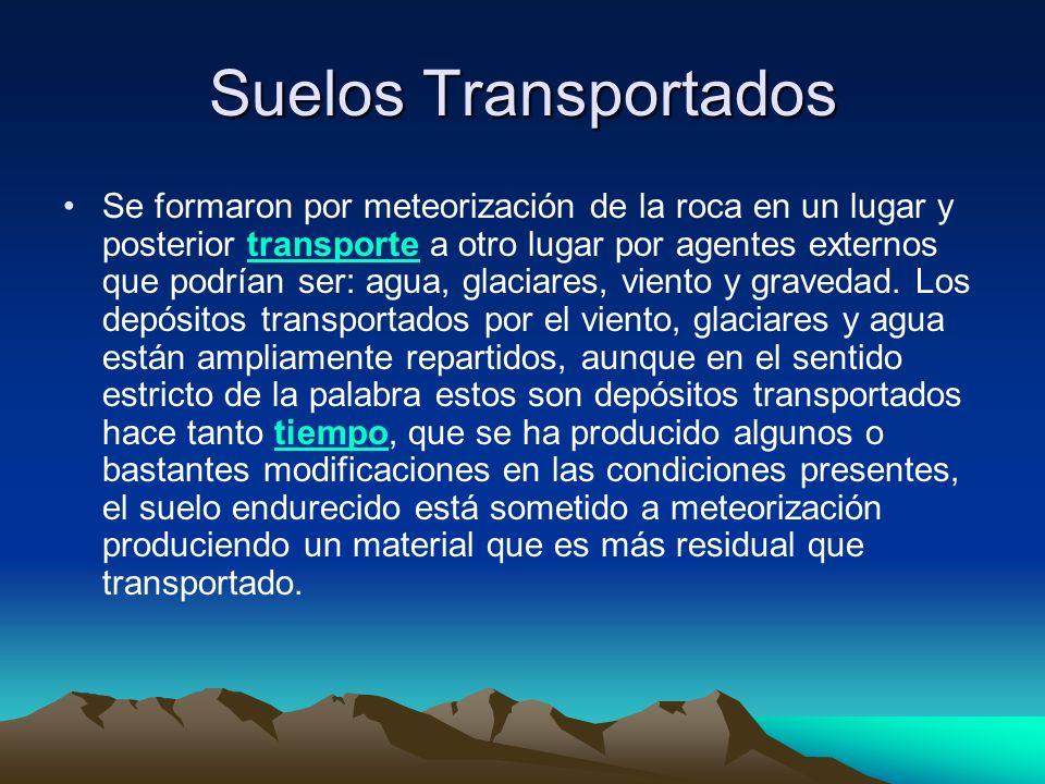Suelos Transportados Se formaron por meteorización de la roca en un lugar y posterior transporte a otro lugar por agentes externos que podrían ser: ag
