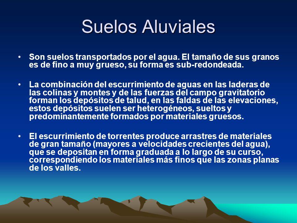 Suelos Aluviales Son suelos transportados por el agua. El tamaño de sus granos es de fino a muy grueso, su forma es sub-redondeada. La combinación del