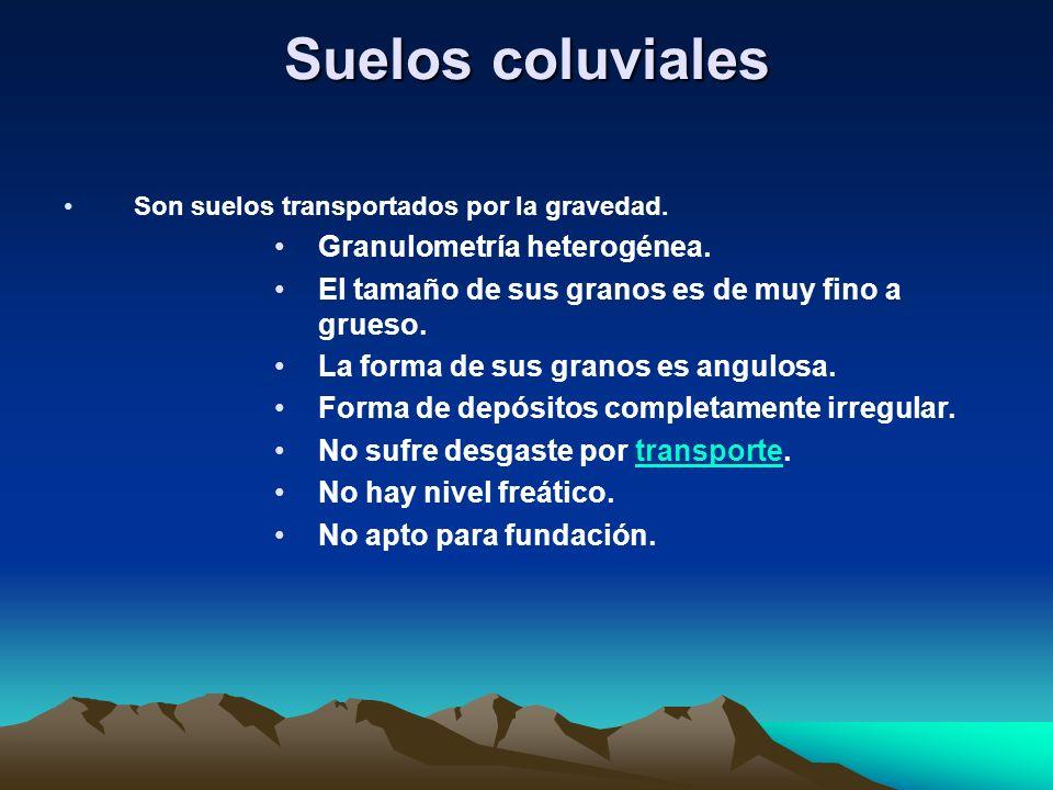 Suelos coluviales Son suelos transportados por la gravedad. Granulometría heterogénea. El tamaño de sus granos es de muy fino a grueso. La forma de su