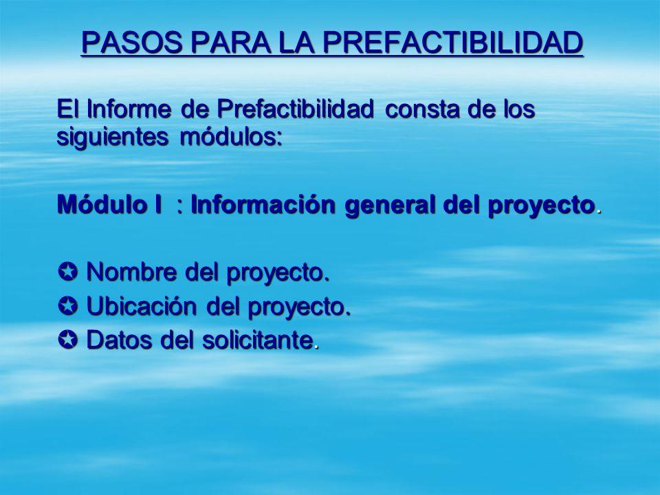 PASOS PARA LA PREFACTIBILIDAD Paso 8: Elaborar Informe de Prefactibilidad y sus anexos. Paso 8: Elaborar Informe de Prefactibilidad y sus anexos. En e