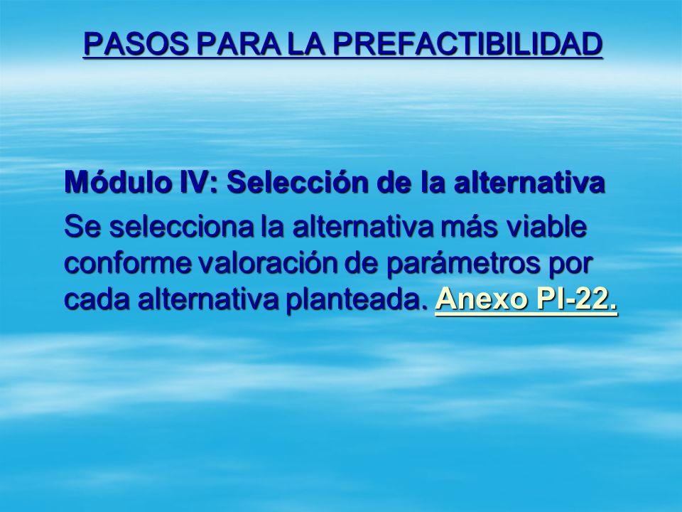PASOS PARA LA PREFACTIBILIDAD Módulo III: Alternativas de solución. Cada alternativa debe contar con la siguiente información: Aspectos ambientales: E