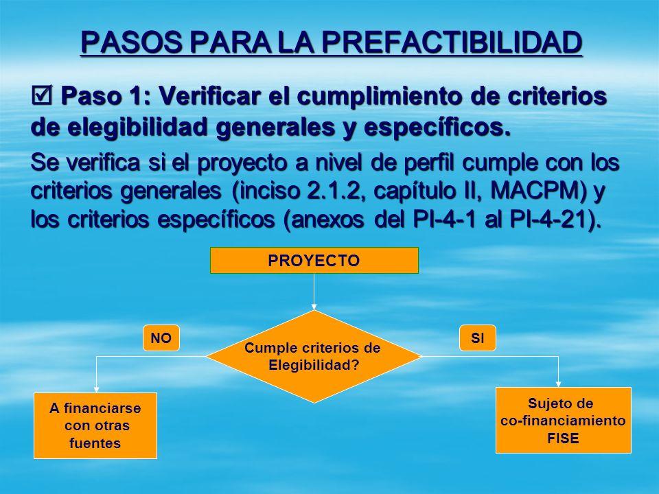 PASOS PARA LA PREFACTIBILIDAD Paso 1: Verificar el cumplimiento de criterios de elegibilidad generales y específicos.