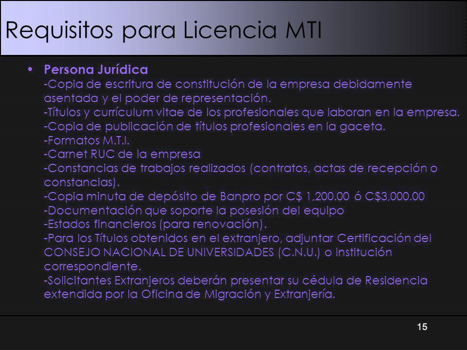 Requisitos para Licencia MTI Persona Jurídica -Copia de escritura de constitución de la empresa debidamente asentada y el poder de representación.
