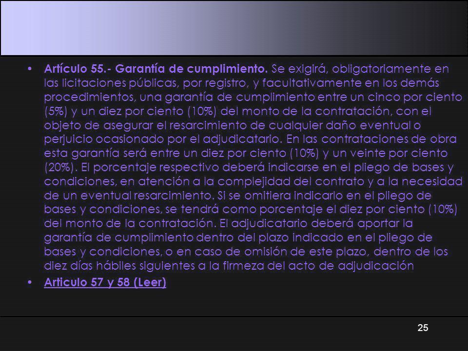 Artículo 55.- Garantía de cumplimiento.