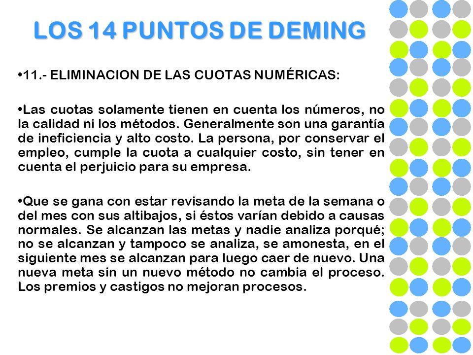 LOS 14 PUNTOS DE DEMING 11.- ELIMINACION DE LAS CUOTAS NUMÉRICAS: Las cuotas solamente tienen en cuenta los números, no la calidad ni los métodos. Gen