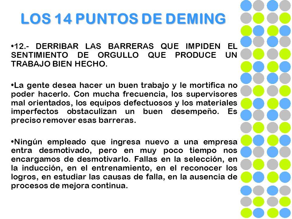 LOS 14 PUNTOS DE DEMING 12.- DERRIBAR LAS BARRERAS QUE IMPIDEN EL SENTIMIENTO DE ORGULLO QUE PRODUCE UN TRABAJO BIEN HECHO. La gente desea hacer un bu