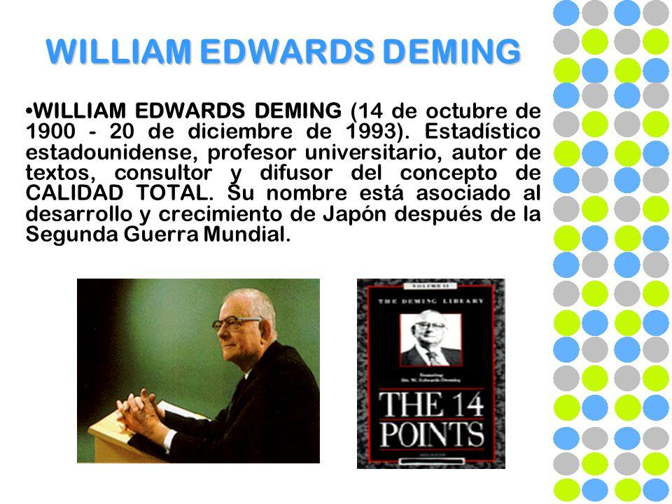 WILLIAM EDWARDS DEMING WILLIAM EDWARDS DEMING (14 de octubre de 1900 - 20 de diciembre de 1993). Estadístico estadounidense, profesor universitario, a