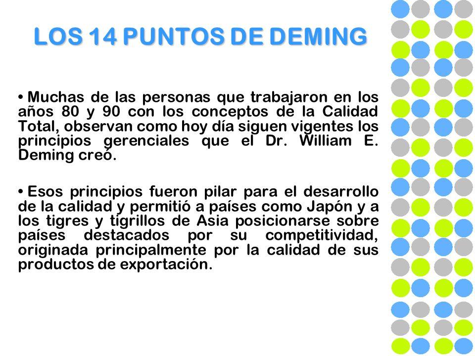 LOS 14 PUNTOS DE DEMING 1- CONSTANCIA EN EL PROPÓSITO DE MEJORAR PRODUCTOS Y SERVICIOS: El Dr.