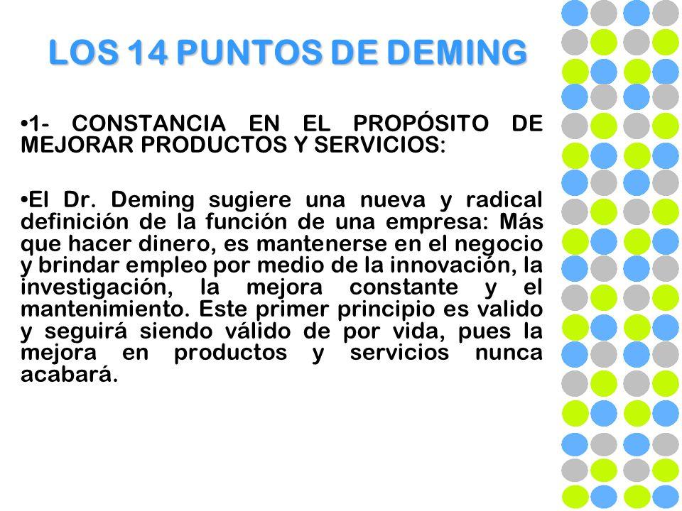 LOS 14 PUNTOS DE DEMING 1- CONSTANCIA EN EL PROPÓSITO DE MEJORAR PRODUCTOS Y SERVICIOS: El Dr. Deming sugiere una nueva y radical definición de la fun