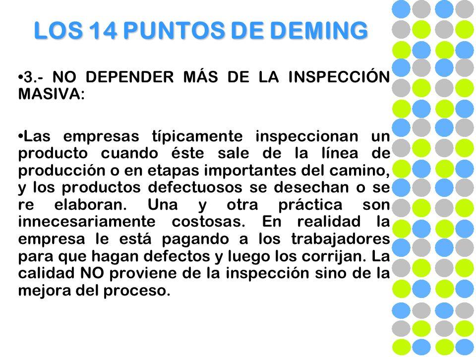 LOS 14 PUNTOS DE DEMING 3.- NO DEPENDER MÁS DE LA INSPECCIÓN MASIVA: Las empresas típicamente inspeccionan un producto cuando éste sale de la línea de