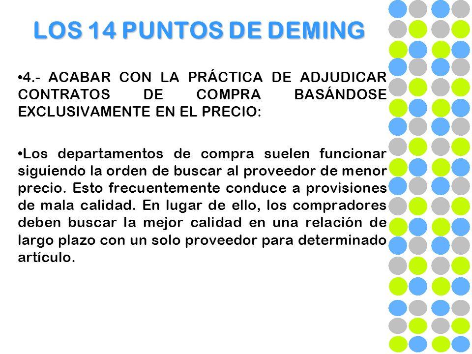 LOS 14 PUNTOS DE DEMING 4.- ACABAR CON LA PRÁCTICA DE ADJUDICAR CONTRATOS DE COMPRA BASÁNDOSE EXCLUSIVAMENTE EN EL PRECIO: Los departamentos de compra