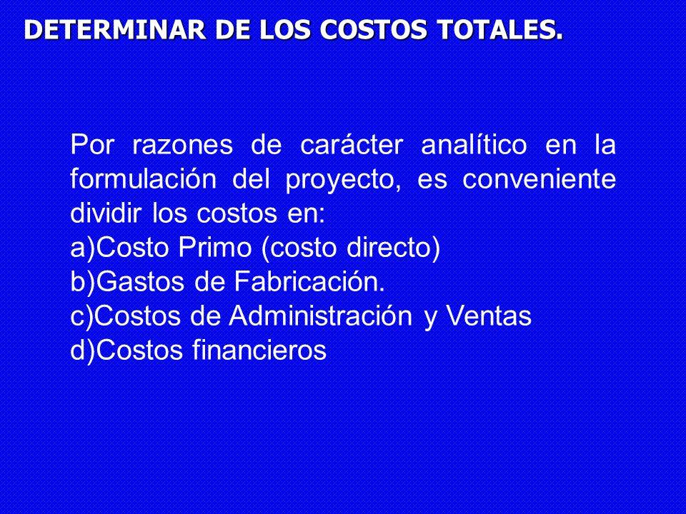 DETERMINAR DE LOS COSTOS TOTALES. Por razones de carácter analítico en la formulación del proyecto, es conveniente dividir los costos en: a)Costo Prim