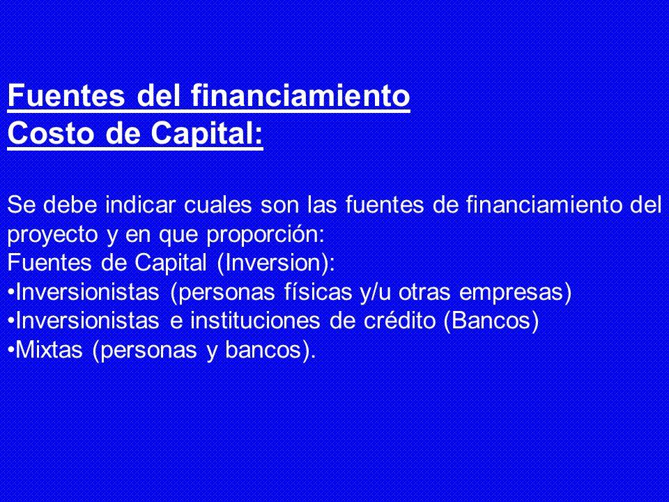Fuentes del financiamiento Costo de Capital: Se debe indicar cuales son las fuentes de financiamiento del proyecto y en que proporción: Fuentes de Cap