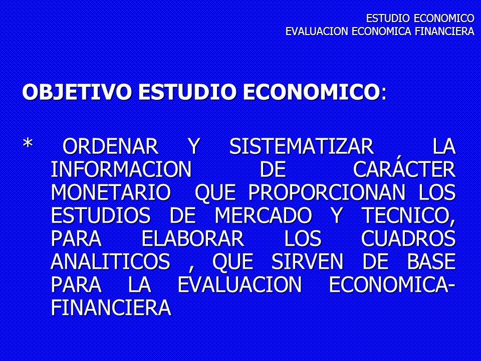 OBJETIVO ESTUDIO ECONOMICO: * ORDENAR Y SISTEMATIZAR LA INFORMACION DE CARÁCTER MONETARIO QUE PROPORCIONAN LOS ESTUDIOS DE MERCADO Y TECNICO, PARA ELA