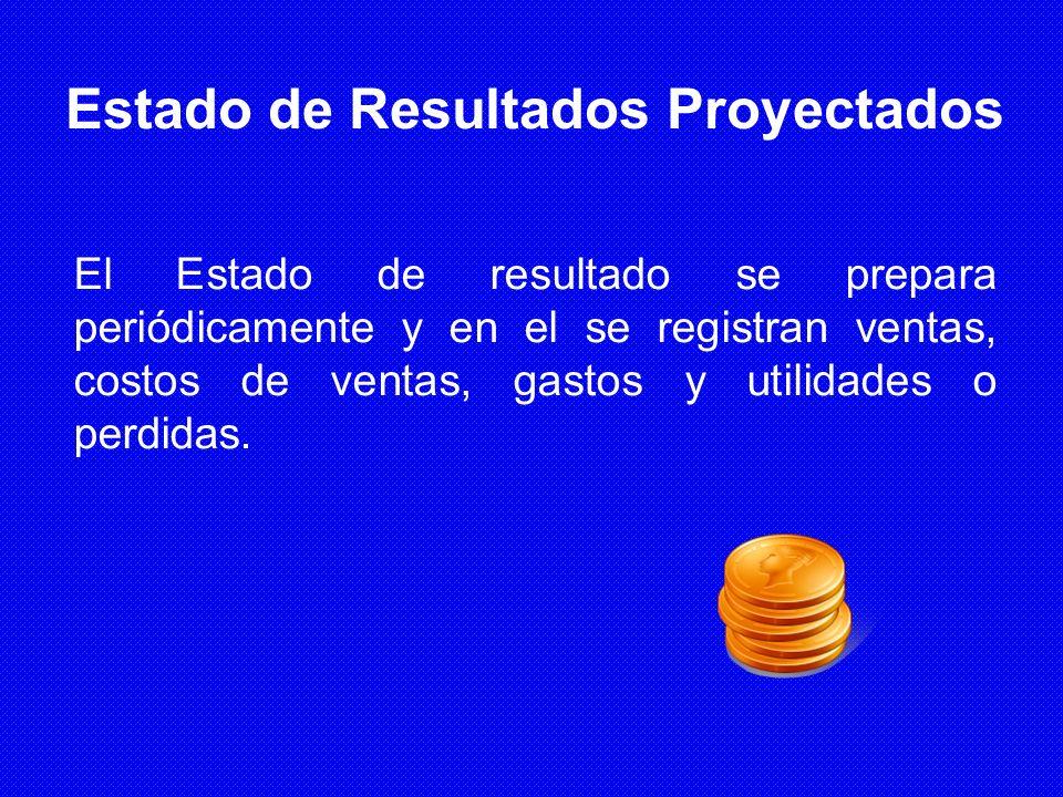 Estado de Resultados Proyectados El Estado de resultado se prepara periódicamente y en el se registran ventas, costos de ventas, gastos y utilidades o