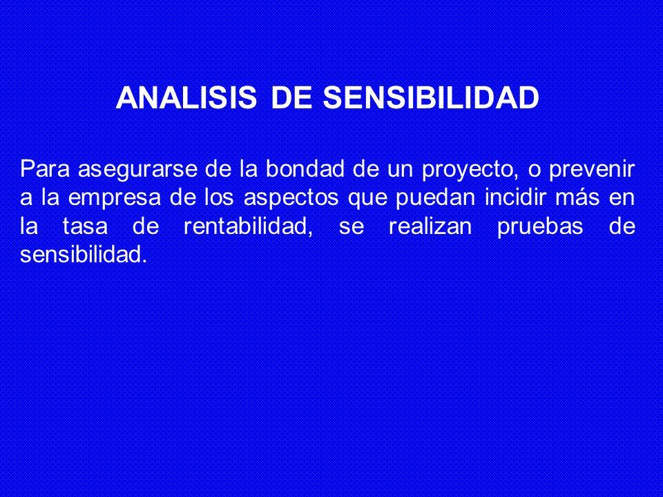 ANALISIS DE SENSIBILIDAD Para asegurarse de la bondad de un proyecto, o prevenir a la empresa de los aspectos que puedan incidir más en la tasa de ren