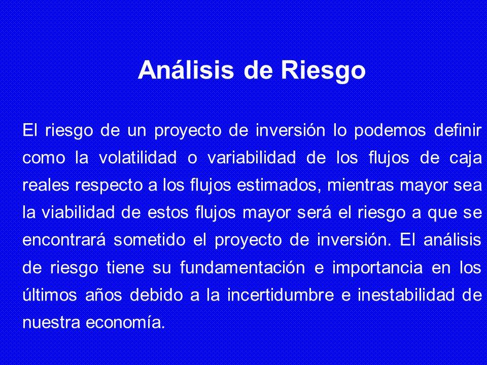 Análisis de Riesgo El riesgo de un proyecto de inversión lo podemos definir como la volatilidad o variabilidad de los flujos de caja reales respecto a