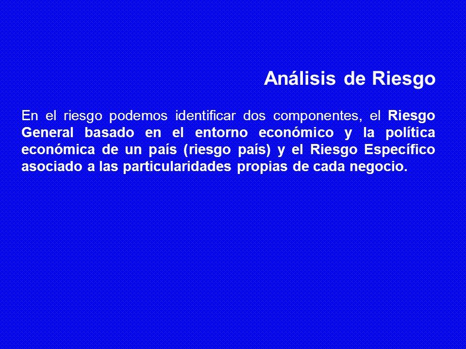 Análisis de Riesgo En el riesgo podemos identificar dos componentes, el Riesgo General basado en el entorno económico y la política económica de un pa
