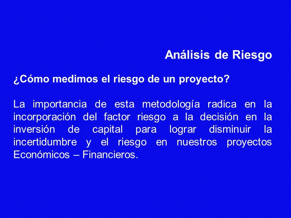 Análisis de Riesgo ¿Cómo medimos el riesgo de un proyecto? La importancia de esta metodología radica en la incorporación del factor riesgo a la decisi