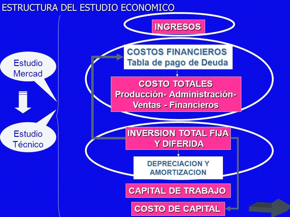 DEPRECIACION Y AMORTIZACION CAPITAL DE TRABAJO COSTO DE CAPITAL INVERSION TOTAL FIJA Y DIFERIDA Y DIFERIDA COSTO TOTALES Producción- Administración- Ventas - Financieros INGRESOS COSTOS FINANCIEROS Tabla de pago de Deuda EVALUACION ECONOMICA – FINANCIERA ESTADO DE RESULTADOS PUNTO DE EQUILIBRIO BALANCE GENERAL INFORMACION ECONOMICA OBTENEMOS