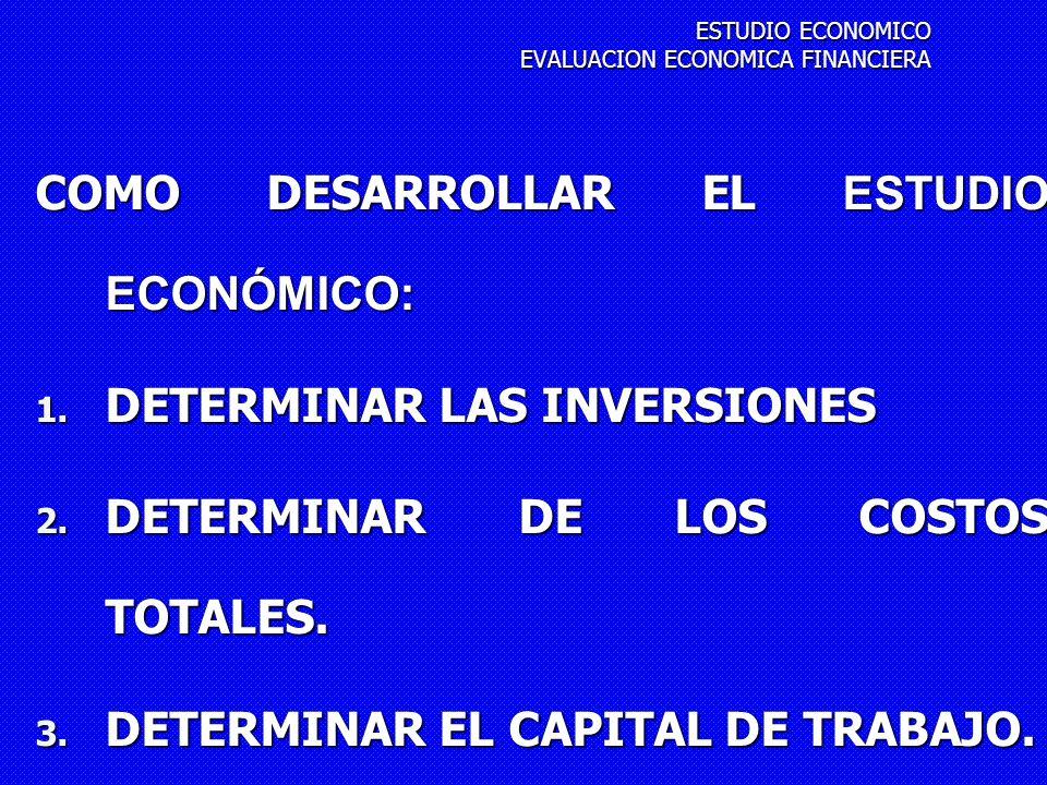 COMO DESARROLLAR EL ESTUDIO ECONÓMICO: 1. DETERMINAR LAS INVERSIONES 2. DETERMINAR DE LOS COSTOS TOTALES. 3. DETERMINAR EL CAPITAL DE TRABAJO. 4. DETE