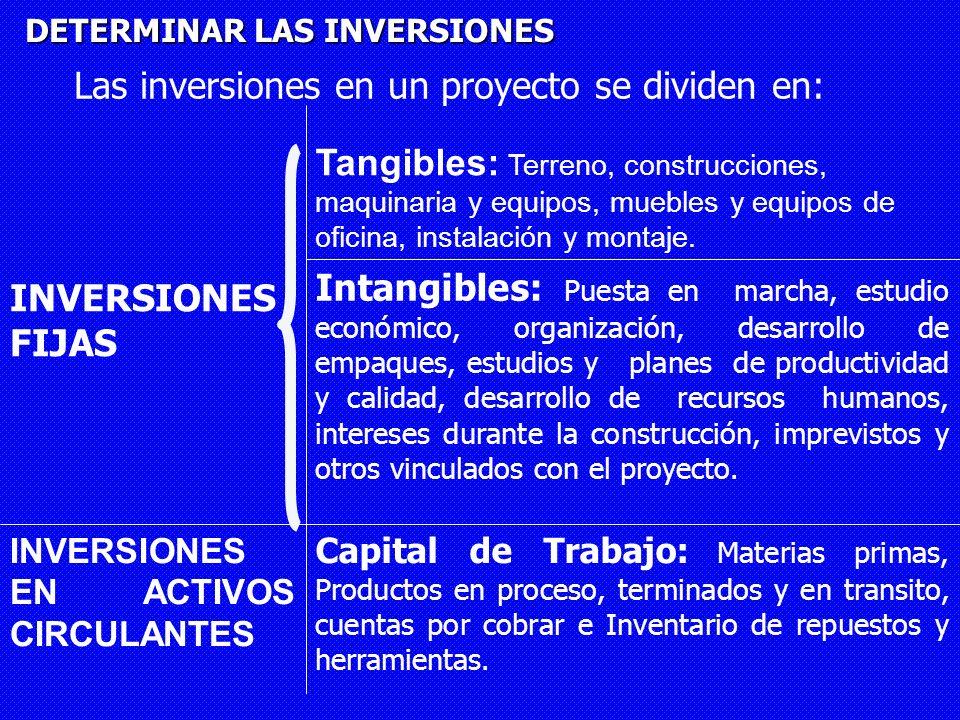 DETERMINAR LAS INVERSIONES Las inversiones en un proyecto se dividen en: Intangibles: Puesta en marcha, estudio económico, organización, desarrollo de