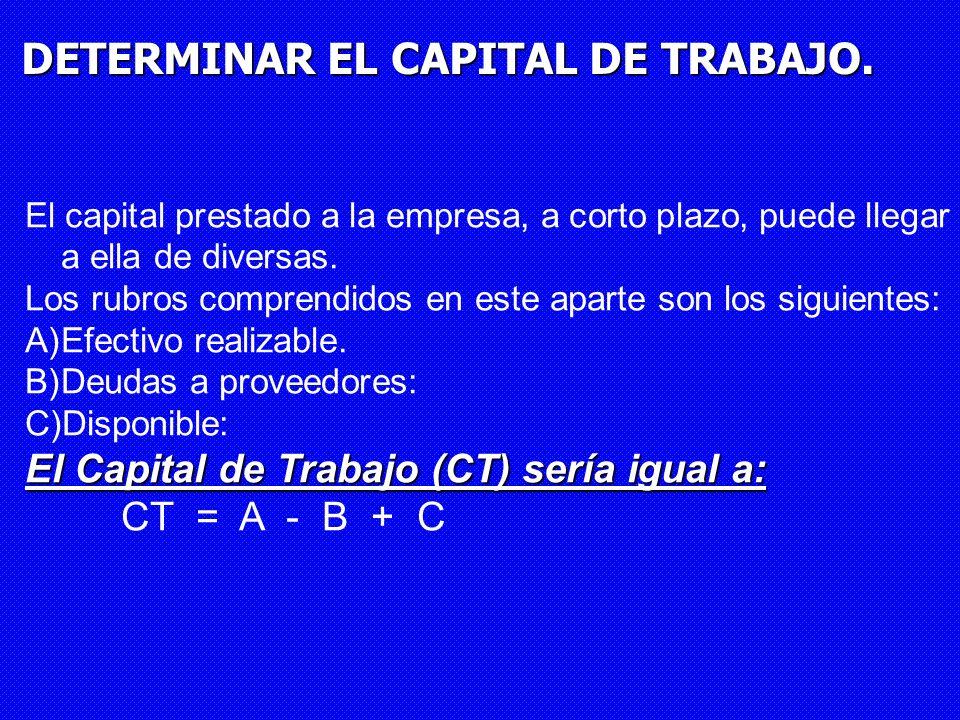 DETERMINAR EL CAPITAL DE TRABAJO. El capital prestado a la empresa, a corto plazo, puede llegar a ella de diversas. Los rubros comprendidos en este ap
