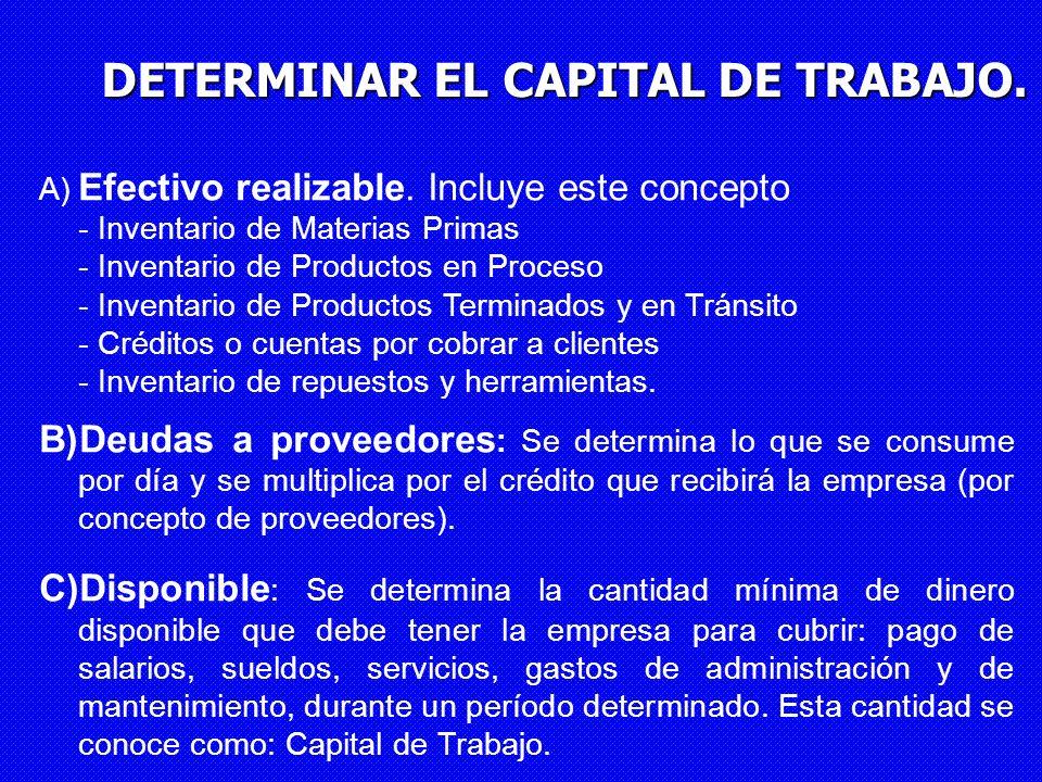 DETERMINAR EL CAPITAL DE TRABAJO. A) Efectivo realizable. Incluye este concepto - Inventario de Materias Primas - Inventario de Productos en Proceso -